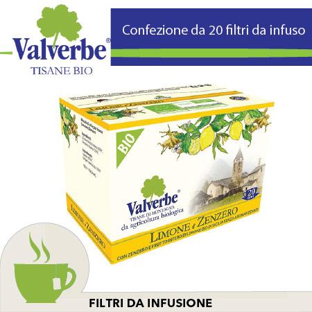 Infuso Tisana Bio Valverbe Limone e Zenzero